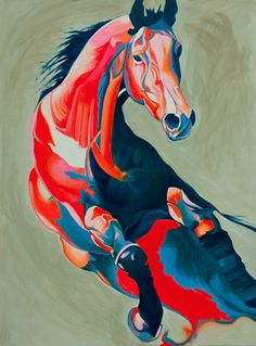 """Saatchi Online Artist Yaheya Pasha; Painting, """"Gemini"""".  the colors showing the contours on this is gorgeous.  i wish the color scheme was monochromatic though. the contrast of red and blue is distracting"""
