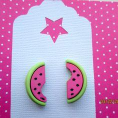Watermelon earrings-Fruit studs-food by StoryBookEarrings on Etsy