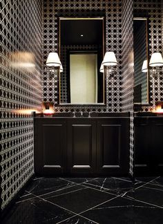 Black Marble Floors and Intense Geometric Walls - Interiors By Color | re-pinned by http://www.wfpcc.com/palmbeachrealestate.php