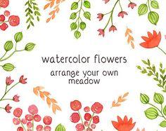 Digital Clip Art, Watercolor Flowers, Floral Clip Art, Watercolor Meadow, Hand painted