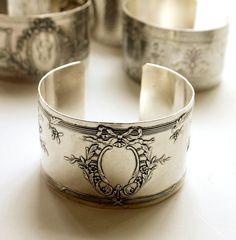 Karen Lindner Antique French Sterling Monogrammed Cuff Bracelet Ribbon