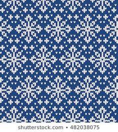 Christmas Sweater Design. Snowflakes Seamless Knitting Pattern Knitting Charts, Knitting Stitches, Knitting Designs, Knitting Needles, Hand Knitting, Fair Isle Chart, Fair Isle Pattern, Crochet Chart, Knit Crochet
