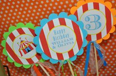 Circus Birthday Centerpiece Sticks - Carnival Birthday - Circus Party Decorations - Kids Circus Party - Set of 3 by sosweetpartyshop on Etsy https://www.etsy.com/listing/194224078/circus-birthday-centerpiece-sticks