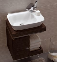 small sink bathroom cabinet tiny house Vello Handrinse Basin with Light Oak Vanity Unit Small Bathroom Sinks, Bathroom Vanity Units, Tiny Bathrooms, Tiny House Bathroom, Bathroom Toilets, Bathroom Design Small, Bathroom Furniture, Bathroom Interior, Bathroom Remodeling