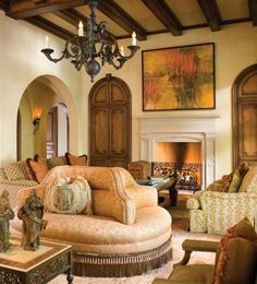 like the walls, ceiling, wall art and chandelier, fireplace, doors... not diggin the furniture though Laura Lee Clark Interior Design, Inc. | Dallas, Texas