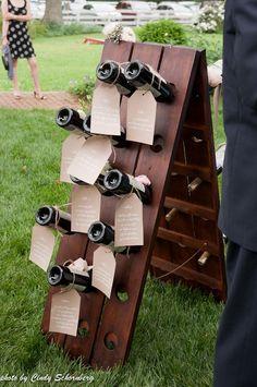 tableau de mariage 2017 con bottiglie e legno