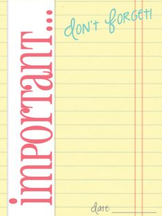 Free Printable Important... Journal Card