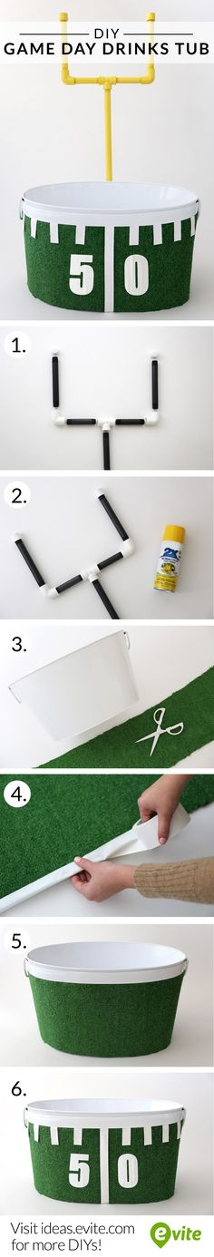 #DIY game day drinks tub instructions. Make your own in time for the biggest game of the year!