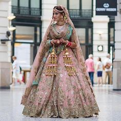 Our Bride-to-be in our , peach silk appliqué Lehengha set, with Coinwork and mirrorwork Hand embroidery , paired with dori work… Indian Bridal Outfits, Indian Bridal Lehenga, Indian Bridal Fashion, Pakistani Bridal Wear, Pakistani Gharara, Indian Gowns, Sikh Wedding Dress, Wedding Lehnga, Bridal Dresses