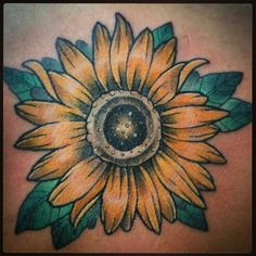 Gorgeous sunflower tattoo by Sam at Dreams Collide in Lancaster, PA