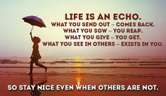 Life is an echo.  What you send out - comes back.  What you sow - you reap.  What you give - you get.  So stay nice even when others are not.