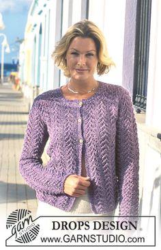 DROPS jakke i Angora-Tweed med hulmønster