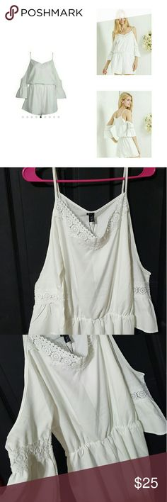Choies White Romper Sz: XL **NEW w/ TAGS** Choies White Romper Sz: XL  White Cold Shoulder Lace Panel Cami Romper Playsuit  New with Tags CHOISE Other