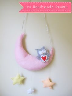 owl Moon Mobile  Hanging Decoration Owl Moon, Felt Wall Hanging, Hand Stitching, Christmas Ornaments, Decoration, Holiday Decor, Home Decor, Decor, Decoration Home