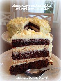 Marian Herkkupuoti: Gluteeniton suklaakakku valkosuklaatäytteellä Desert Recipes, Fall Recipes, Always Hungry, Tiramisu, Deserts, Food And Drink, Birthday Cake, Gluten Free, Sweets