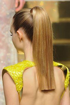 blunt cut, super sleek ponytail