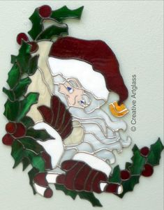 Santa Claus w/ Holly & Berries - Stained Glass Holiday Window Hanging