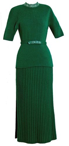 1940's Forest-Green Beaded Wool Hourglass Belted Sweater Dress -  My mom had one like this in wine red.  Loved it.