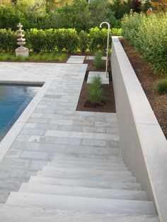 Stone stairs to stone patio