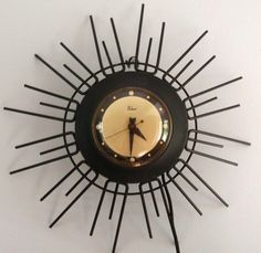 40s 50s Vtg Mid Century Paskow Wall Clock Eames Atomic Space Age Starburst Spoke | eBay