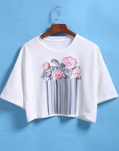 Flower Print Crop White T-shirt 8.90