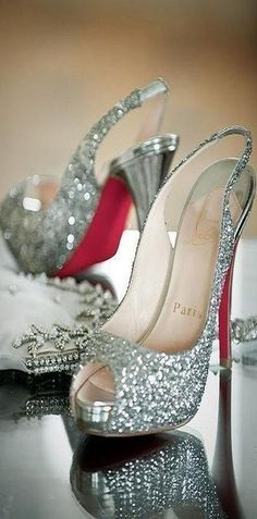 Christian Loubouin Glamorous Sparkling High Heels fashion shoes high heels sparkle diamonds open toe bling slingback