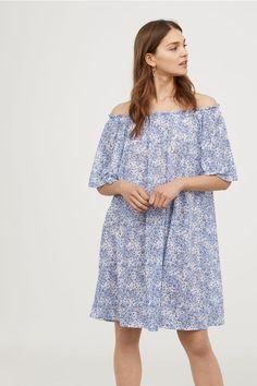 Off-the-shoulder Dress - White/floral - Ladies   H&M US 1 - $13