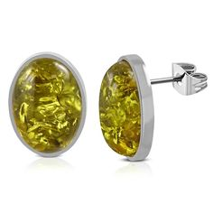 Stainless Steel Bezel Set Oval Green Amber Beads Stud Earrings Pair Amber Beads, Steel Jewelry, Cufflinks, Stud Earrings, Stainless Steel, Pairs, Mystic, Green, Yellow