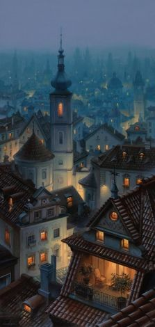 """""""Somewhere in an Ancient Town"""" by Evgeny Lushpin - modern Russian painter"""