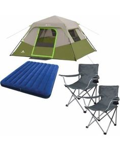 ozark-trail-6-person-instant-cabin-tent-with-2-folding-chairs-and-downy-queen-airbed-bundle
