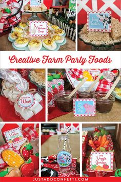 Creative Farm Party Foods that are easy to assemble! Almost all of the foods were straight out-of-the-package with very minimal preparation. I am a huge fan of taking somewhat ordinary foods and giving them creative names. I think this really adds a very memorable touch to any party. #farmparty #creativefoods #farmfood #justaddconfetti #farm #partyideas