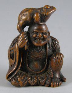 Carved Wood Netsuke of Gama Sennin