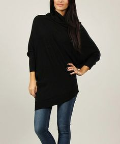 Look at this Black Draped Wool-Blend Dolman Sweater by Annabelle Fall Outfits, Cute Outfits, Fashion Outfits, Womens Fashion, Nice Dresses, Dresses For Work, How To Look Pretty, Wool Blend, Style Inspiration