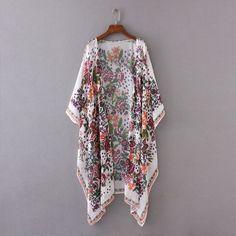 cdfb9671790f7 Gender: Women Collar: O-Neck Clothing Length: Long Sleeve Length(cm): Three  Quarter Style: Kimono Pattern Type: Floral Fabric Type: Chiffon Decoration:  None ...