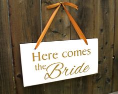 7 x 15 Solid Pine Wedding Sign:  Here comes by JolieMaeCollections