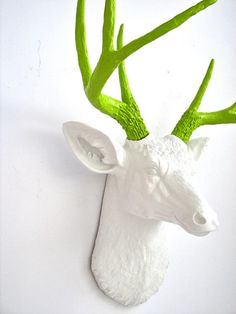 faux white deer head with lime green antlers, bright green, apple green, spring green, lime green, pantone greenery