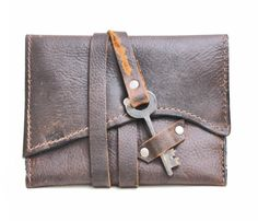 Leather Tobacco Pouch Distressed Leather Tobacco by DivinaDenuevo