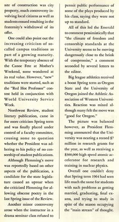Pt. 11 of recap of the 1963-64 school year at the UO. From the 1964 Oregana (University of Oregon yearbook). www.CampusAttic.com