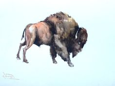 showantell:Bizon Painting, large watercolor painting, 24 X 18 in, brown animal art, bull art, bull painting, bison lover art, animal painting by ORIGINALONLY (96.00 USD) http://ift.tt/1uHiMyP
