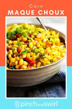 The only Corn Maque Choux recipe you'll ever need! This classic Cajun dish from Louisiana is a blend of fresh, sweet corn, peppers, onion, and bacon with a rich finish of butter. Creamy, easy and SO delicious! Easy Summer Meals, Healthy Summer Recipes, Quick Healthy Meals, Potluck Side Dishes, Side Dishes Easy, Easy Make Ahead Appetizers, Easy Dinner Recipes, Corn Maque Choux Recipe, Real Food Recipes