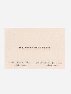 jon w benedict. instagram. HENRI MATISSE, Business card.