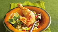Pieczone udka kurczaka z ryżem z warzywami i świeżą miętą. Kuchnia Lidla - Lidl Polska #lidl #kurczak #syropklonowy