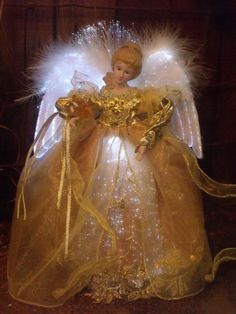 CHRISTMAS FIBER OPTIC LIGHTED GOLD ROSE ANGEL FLUFFY WINGS FIGURE TREE TOPPER 12 Christmas Angel Ornaments, Christmas Tree Toppers, Christmas Items, Xmas, Heavenly Angels, Angels In Heaven, Ghost Of Christmas Past, Angel Crafts, Shabby Chic Pink