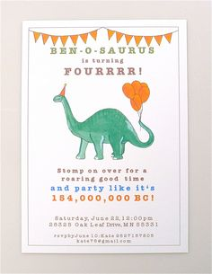 PRINTABLE Dinosaur Invitation - Brontosaurus - boys party - personalised - dinosaurs - paper goods - digital file - invitation by AvEHdesigns on Etsy