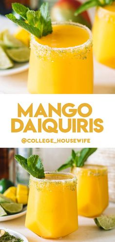 Tropical Drink Recipes, Mango Recipes, Summer Recipes, Beef Recipes, Brunch Drinks, Party Drinks, Fun Drinks, Mango Daiquiri, Frozen Cocktails