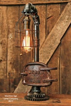 Railroad Train Locomotive Missouri Kansas Texas Mk&t Desk Lamp Steampu Steampunk Design, Steampunk Lamp, Industrial Style Lamps, Industrial Furniture, Desk Lamp, Table Lamp, Shabby Chic Lamps, Pipe Lamp, Bedroom Lamps