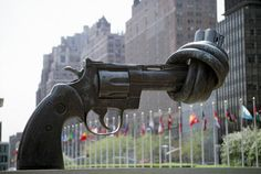 """""""Non-Violence,"""" a sculpture by Karl Fredrik Reutersward. Today (Oct 2) is International Day of Non-Violence. Ban Ki-moon calls on world's citizens to practice non-violence everyday"""