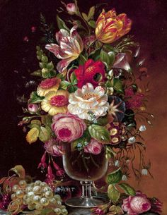 Antique Oil Painting Giclee Canvas CONTINENTAL SCHOOL (19th Century) Floral Still Life with Fruit, 1858