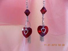 Earrings dangle 2in drop red hearts