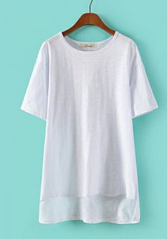 White Cotton Round Neck Short Sleeve Plain Tops